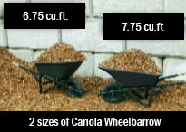 Image showing the 2 sizes of Cariola wheelbarrow - 6.75 cu.ft. and 7.75 cu.ft.